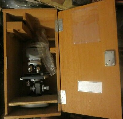 Vintage Millipore 4 Objectives Microscope Japan Wfiox In Wooden Case