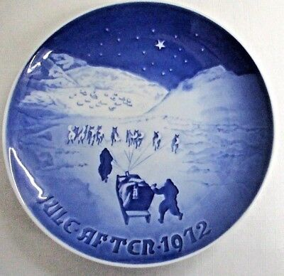 B&G  COPENHAGEN PLATE~1972 CHRISTMAS IN GREENLAND~DOG SLEDDING~Bing & Grondahl