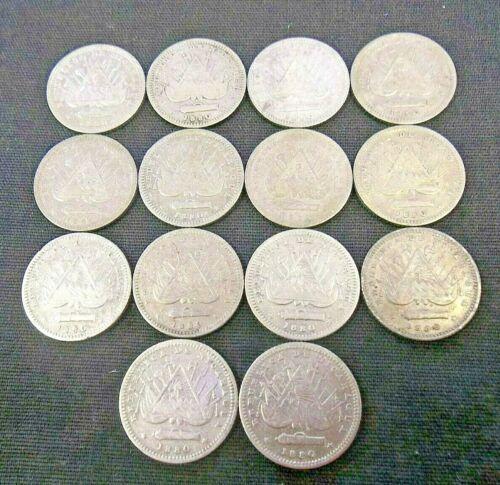 DEALER LOT (14) 1880-H NICARAGUA SILVER 10 CENTAVOS CENTS    (6938)