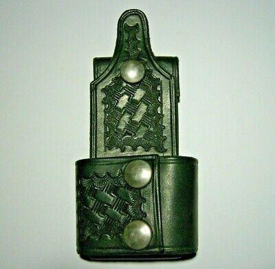 Law Enforcementsecurity Black Leather Basket Weave Batonflashlight Holder Nos
