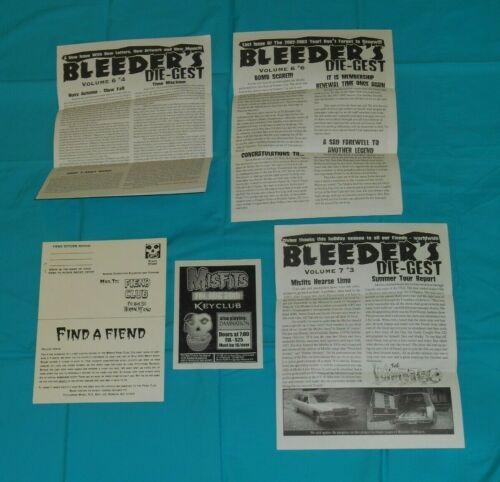 vintage MISFITS FIEND CLUB fan materials lot newsletters flyer handbill