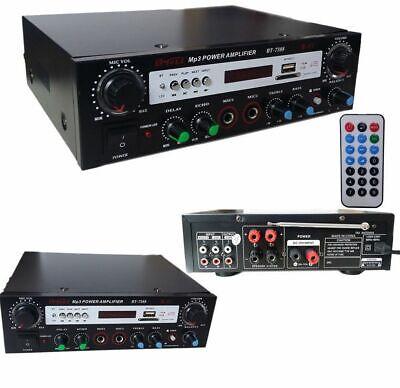 AMPLIFICATORE AUDIO BLUETOOTH 2 CANALI STEREO KARAOKE MP3 RADIO FM HI-FI USB...