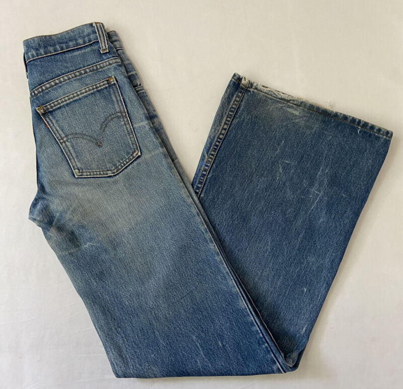Vtg 70s Levis Orange Tab Distressed Faded Bellbottom Flare Denim Jeans