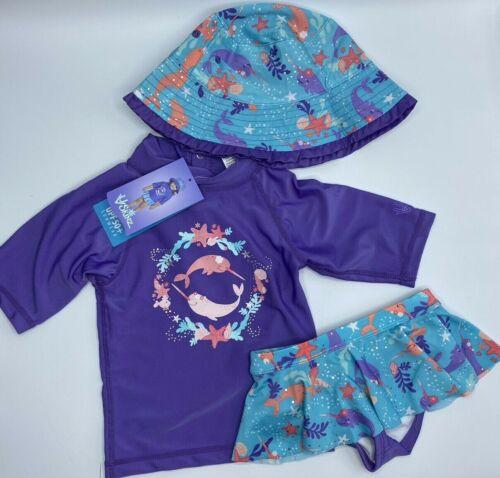 Girls Size 2T Adorable UV Skinz 3-Piece Swimsuit UPF 50+ Sunwear Purple Narwhal
