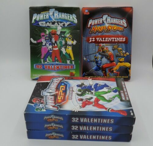 Lot of 5 Power Rangers Valentines Day Cards 1999 Lost Galaxy Ninja Storm S.P.D.