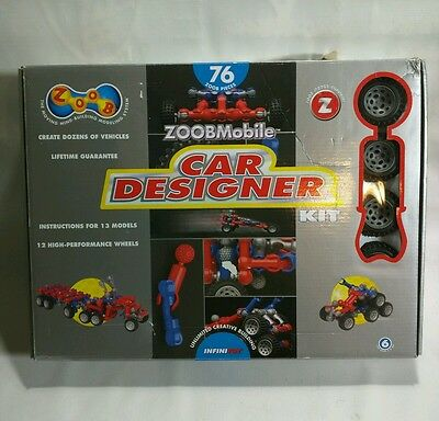 ZOOB MOBILE CAR DESIGNER KIT 12 Wheels 76 Zoob & 1 Instruction