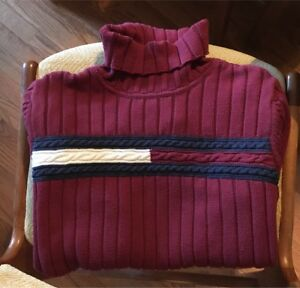 Tommy Hilfiger Red Turtleneck Big Logo Size Small