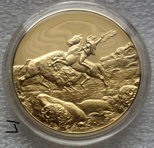 "24K Gold Bronze Art Medal Indian ""The Last of The Buffalo"" Albert Bierstadt"