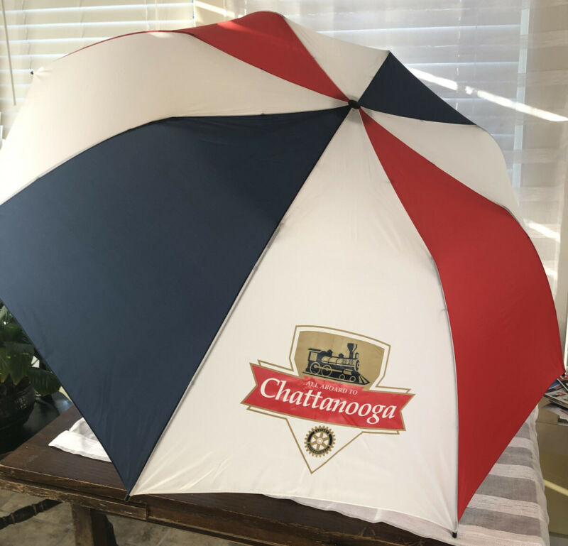 Vintage Rotary International Umbrella All Aboard To Chattanooga With Sleeve EUC