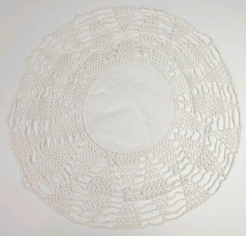 """Antique 17"""" Round Centerpiece Doily with Linen Center & Crochet Lace Trim"""