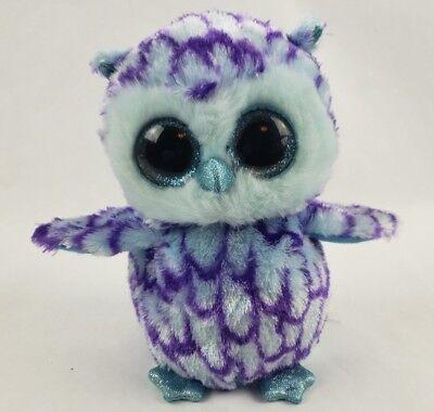 Ty Beanie Boos Oscar The Owl 6  Plush Blue Glitter Eyes Purple Bird Ty Silk