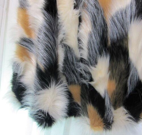 "Nicole Miller Luxury Silky Faux Fur Christmas Tree Skirt Black Tan Cream 52"""