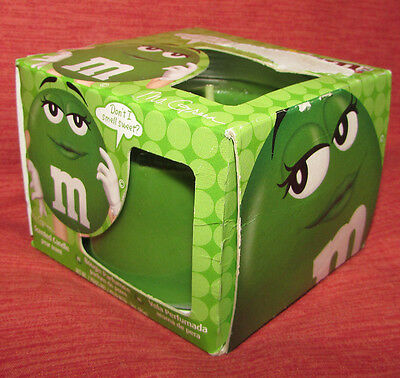 M & M's Green SCENTED CANDLE 2013 NOS In BOX Pear Scent in Glass Jar Unused NRFB