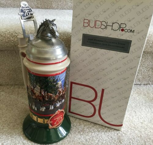 Budweiser Members Stein 2008 Clydesdales Pewter Horse Head 75th Anniversary BSM1