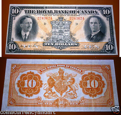 Royal Bank Of Canada     10 1927   Large Banknote  Canadian Chartered Vf