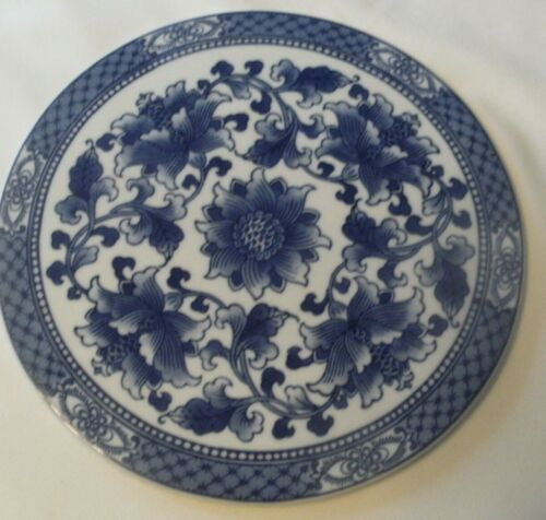 Vintage Extra Large  Blue and White Ceramic Trivet Hot Plate Classic Style