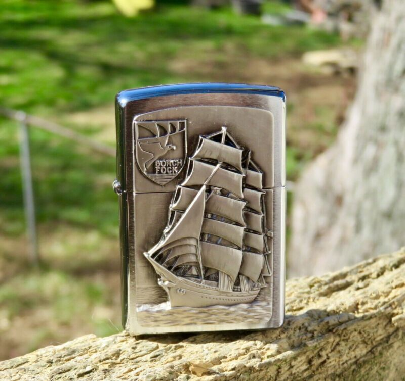 """COLLECTABLE ZIPPO """" GORCH FOCK"""" EMBLEM LIGHTER MINT CONDITION NEW NEVER USED"""