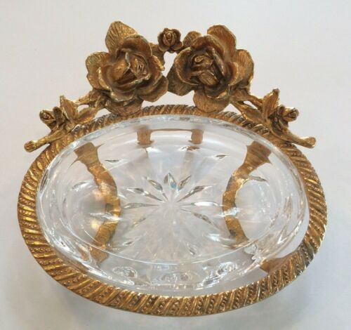 Stylebuilt Gold Roses Glass Footed Soap Dish Nice Metal Glass