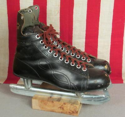 Vintage Blue Line Bobby Orr Leather Mens Ice Hockey Skates Brookfield Blades sz9