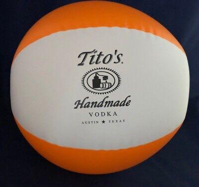 Tito's Handmade Vodka Logo Blow Up Beach Ball Orange White 11