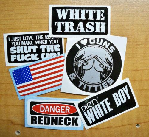6pk Funny Hard Hat Stickers | White Trash Dirty Boy American Flag Redneck USA