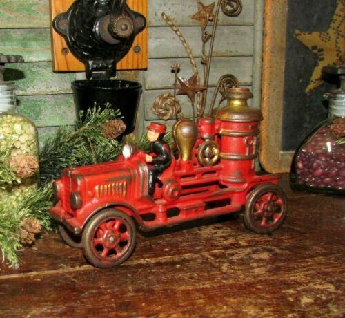 Original Antique Vtg 1930s Cast Iron KENTON TOYS Ohio Lg Pumper Car Fire Truck
