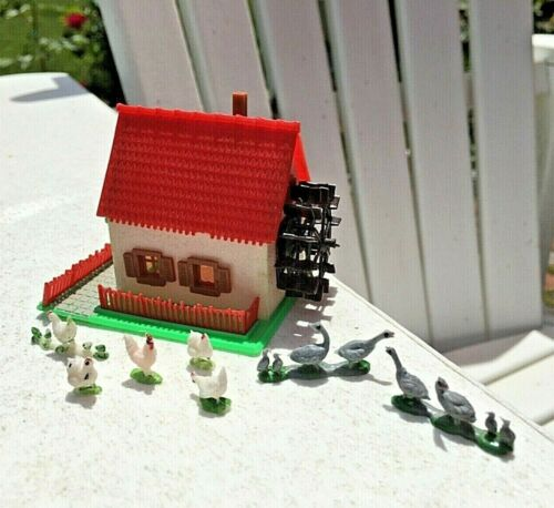 Vintage Miniature House w/ Millwheel, Geese and Chickens