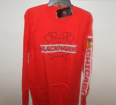 NHL Chicago Blackhawks Long Sleeve Red Hockey Shirt New Mens Sizes MSRP $26 Chicago Blackhawks Long Sleeve Shirt