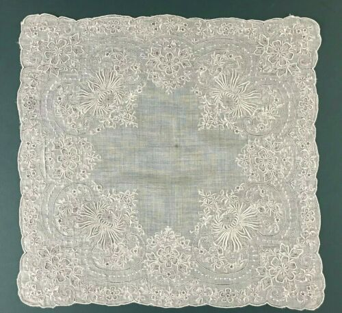 ATQ Madeira Elaborate Embroidery Chrysanthemum Linen Bridal Wedding Handkerchief