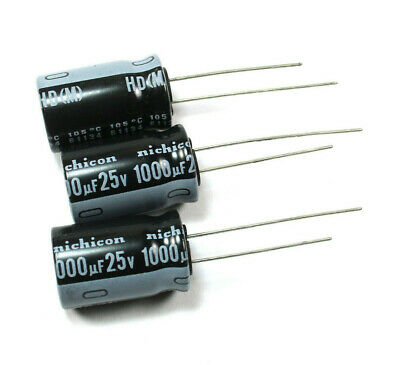 8pcs Nichicon Hd 1000uf 25v 105c Radial Electrolytic Capacitor Low Esr