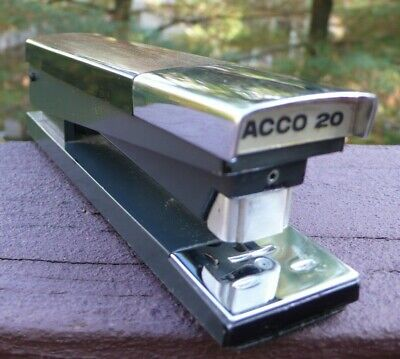 Vtg. Wood Tone Stapler Acco 20 Heavy Duty Metal Made In Usa