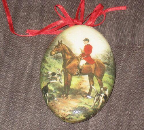 VTG Christmas Ornament horse - fox hounds, hunter, And Rider