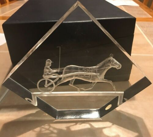 Vintage Michael F. Cox Lucite Harness Horse Racing Light Sculpture Paperweight