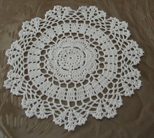 """New Hand Crocheted Round Doily 11.5"""" White Handmade US c"""