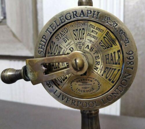 "Beautiful  Antique  Brass Ship Engine Room Telegraph Marine Working Ring Bell 7"""