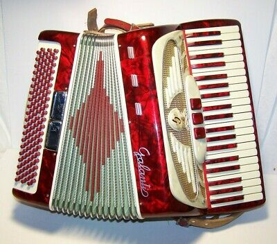 Vintage RED Galanti Accordion 41 Key With Case Very Clean and Works