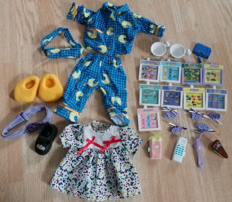 Vintage 1999 Amazing Ally Interactive Doll Accessories Lot Slumber Party Clips +