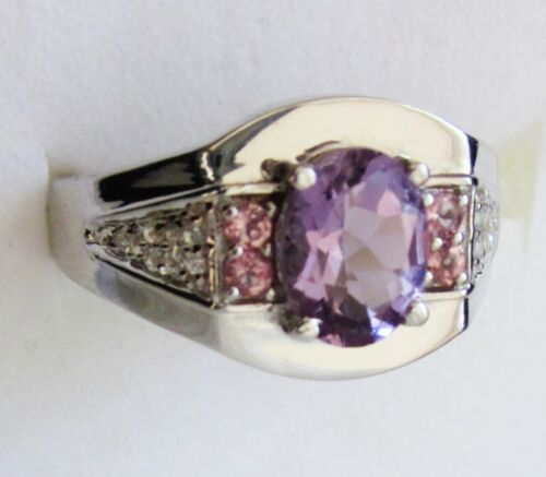 Men's Amethyst & Pink Tourmaline Ring, 925 Sterling Silver, sz 11 -- 2cts, 6.5g