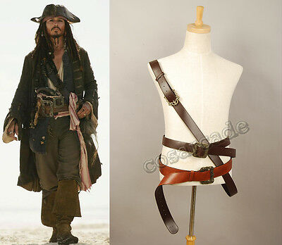 Pirates Of The Caribbean Outfit (Pirates of The Caribbean Jack Sparrow Cosplay Costume Outfit Belt Buckles)