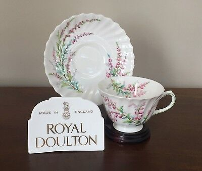 Bell Heather (Royal Doulton BELL HEATHER SCALLOPED Footed Cup & Saucer Set(s))