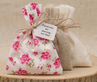 Wedding Favour Bags Pink Tea Rose Hessian Floral Rustic Personalised Shabby