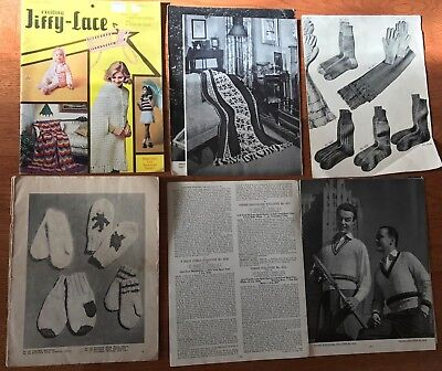 Vintage 1970s Jiffy-Lace Crochet Pattern Book With Knitting And A Crochet Hook +