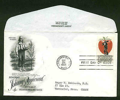 Johnny Appleseed Craft (1317 JOHNNY APPLESEED FDC LEOMINSTER, MA ART CRAFT CACHET AYERST LABS)