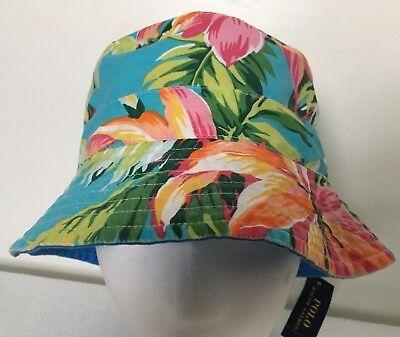 Polo Ralph Lauren Bucket Hat~Blue Yellow~Reversible~Hawaiian Floral~Sz L/XL~NWT