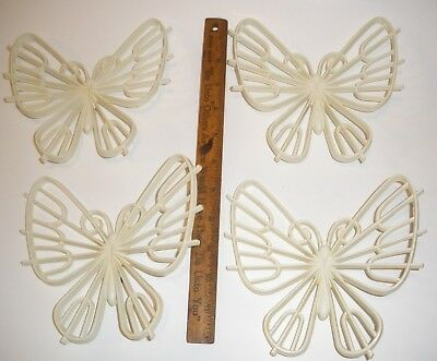 "4 WHITE BURWOOD BUTTERFLY WALL HANGING PLAQUE  6 1/2"" X 6"" LOT HOME INTERIORS"