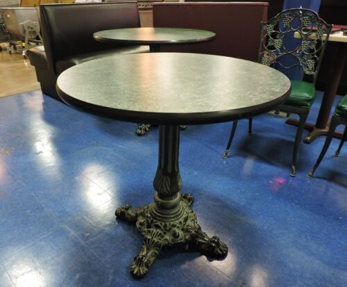 """Green Round Top Restaurant Table with Vintage Cast Iron Base - 30"""" diameter"""