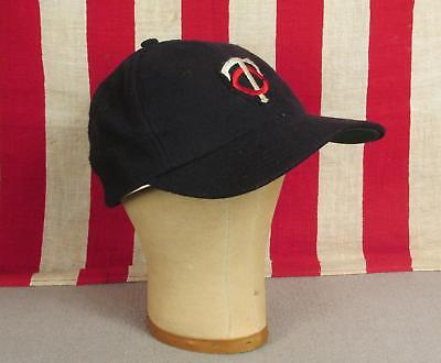 8e0ef8bbecf Vintage 1950s Minnesota Twins Patch Blue Wool Baseball Cap Pro Model Hat  22.5