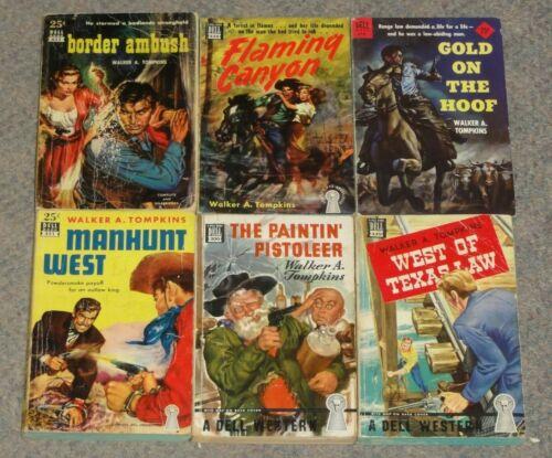 Lot of 6 WALKER A. TOMPKINS Vintage 1940s 1950s  WESTERN paperbacks DELL mapback