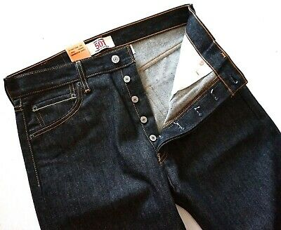 Levi's Levis Nwt 501 Shrink to Fit Black Raw Denim Jeans Button Fly 005010226