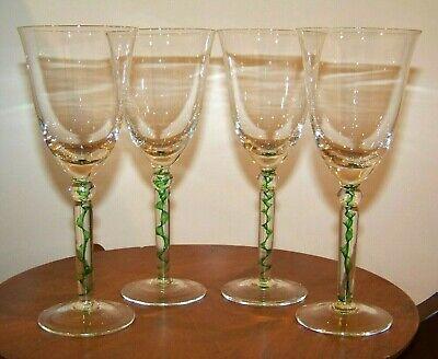 Set 4 Wine Glasses w/ Green Candy Ribbon Design Stem Green Wine Design